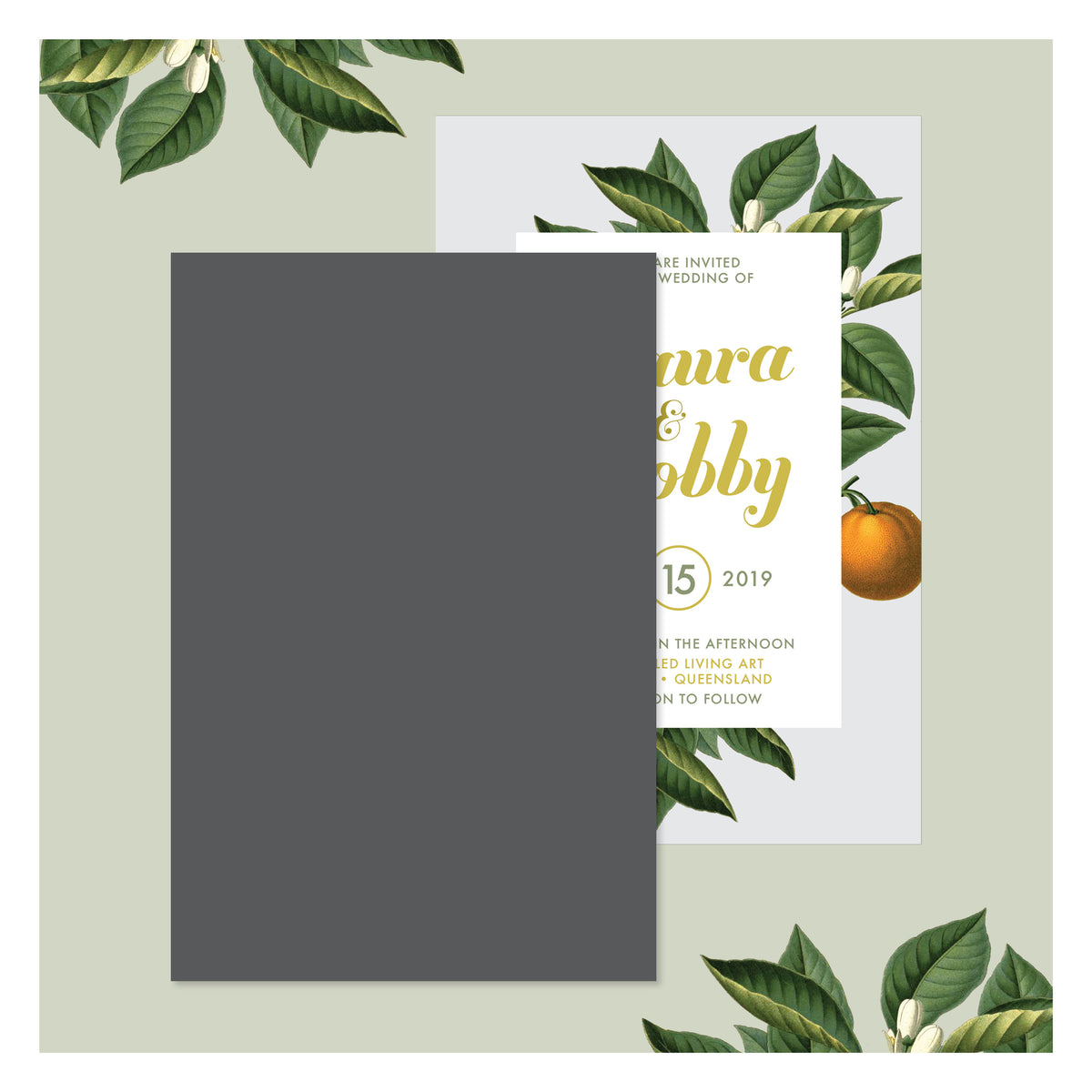 Sweet Citrus in Misty Grey • Wedding Invitation