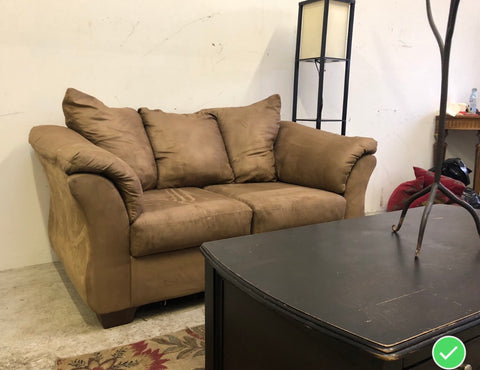 Cute Brown Microfiber Loveseat (DELIVERY INCLUDED)