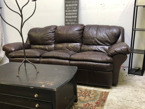 Super Comfy Dark Brown Leather Dual Reclining Sofa (DELIVERY INCLUDED)