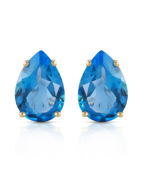MAGNOLIA 10.00 CTW Pear Blue Topaz 14K Gold Stud Ladies Earrings Length 13 mm