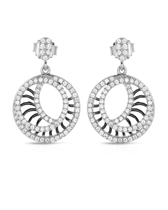 Round White Cubic Zirconia Sterling Silver Circle Ladies Earrings Length 26 mm