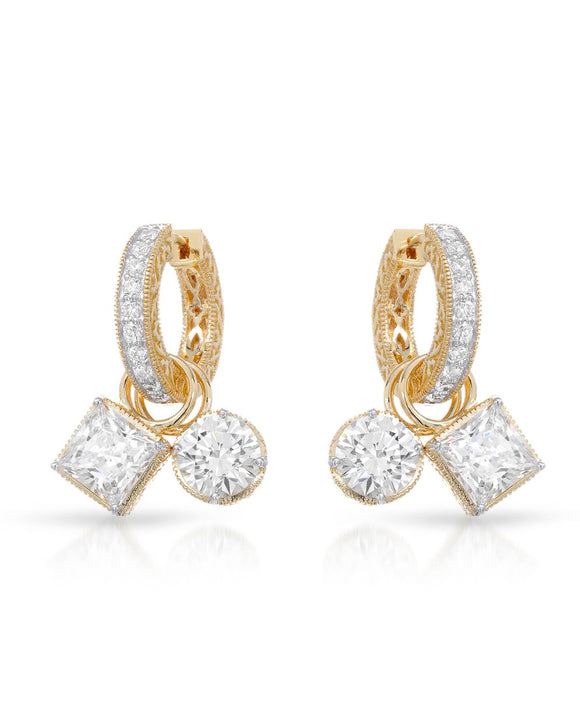 Multi-Shaped White Cubic Zirconia Gold Plated Silver Drop Ladies Earrings