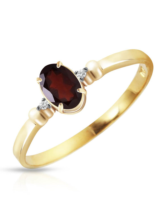 MAGNOLIA 0.46 CTW Accent Oval Reddish Brown Garnet 14K Gold Ladies Ring Size 8