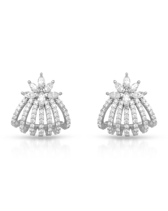 AURORA BOREALIS White Cubic Zirconia Sterling Silver Stud Ladies Earrings