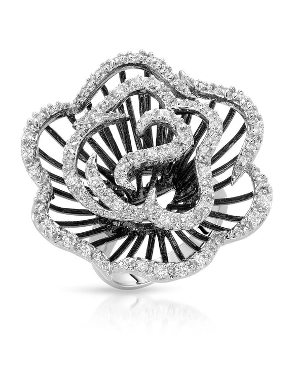 AURORA BOREALIS White Cubic Zirconia Sterling Silver Cocktail Ladies Ring Size 7