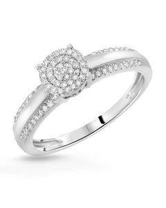 0.25 CTW H-I I2-I3 Round Diamonds Sterling Silver Ladies Ring Size 10