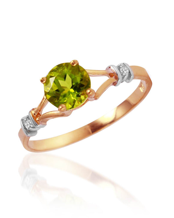 MAGNOLIA 0.88 CTW SI2 Round Green Peridot 14K Gold Ladies Ring Size 8