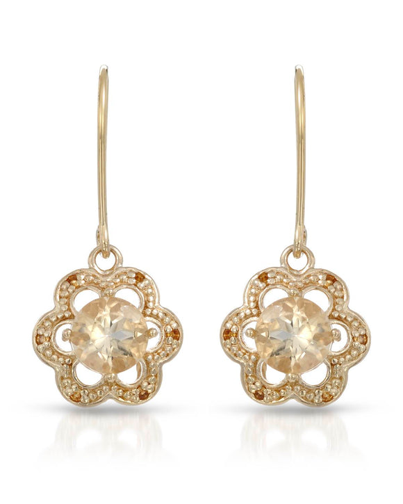 1.60 CTW Round Yellow Citrine Gold Plated Silver Drop Ladies Earrings
