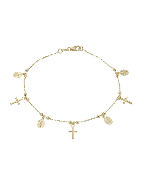 MILLANA Made In Italy 14K Gold Cross Ladies Bracelet Weight 2.6g. Length 7 in