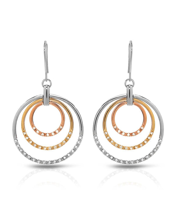 Round White Cubic Zirconia Sterling Silver Circle Ladies Earrings Length 52 mm