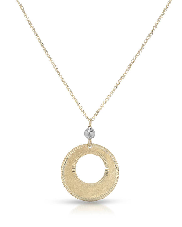 MILLANA Made In Italy 14K Gold Circle Ladies Necklace Weight 1.1g. Length 18 in