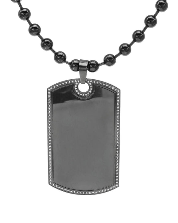 LUNDSTROM 0.75 CTW H-I I2 Round Diamonds Stainless Steel Men's Necklace