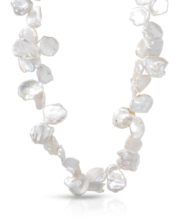 Beaded White Keshi Pearl Sterling Silver Ladies Necklace Length 20 in