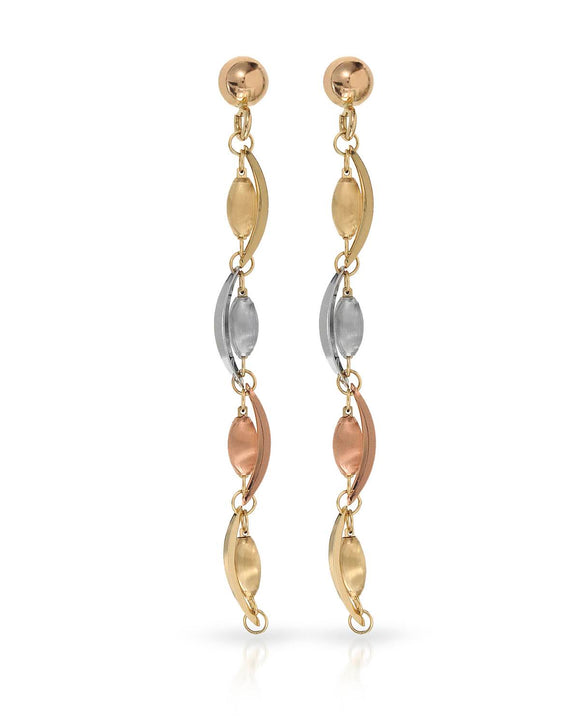 MILLANA Made In Italy 14K Gold Dangle Ladies Earrings Weight 2.5g. Length 55 mm