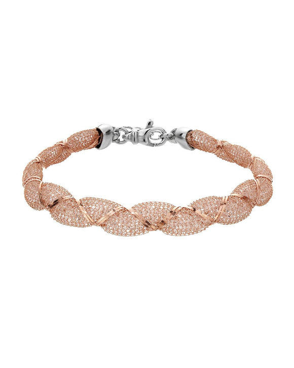 Made In Italy Round White Crystal Gold Plated Silver Ladies Bracelet