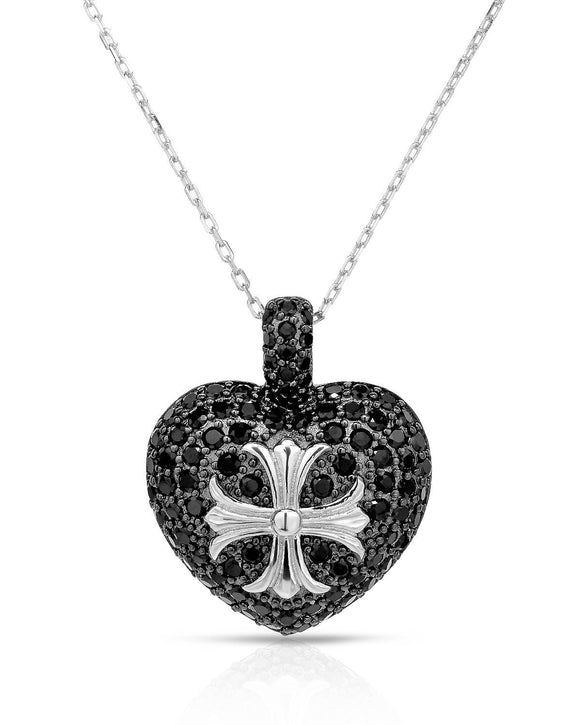 Made In Italy Round Black Cubic Zirconia Sterling Silver Heart Ladies Necklace