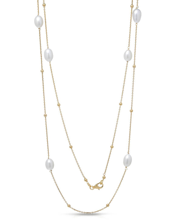 AURORA BOREALIS Made In Italy Freshwater Pearl Gold Plated Silver Necklace