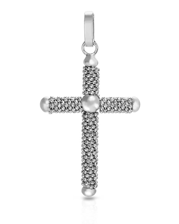 MILLANA Made In Italy Sterling Silver Cross Ladies Pendant Length 52 mm