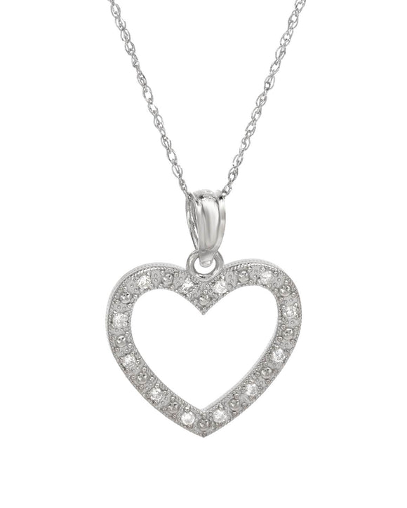 0.08 CTW H-I SI3 Round Diamonds 14K Gold Heart Ladies Necklace Length 18 in