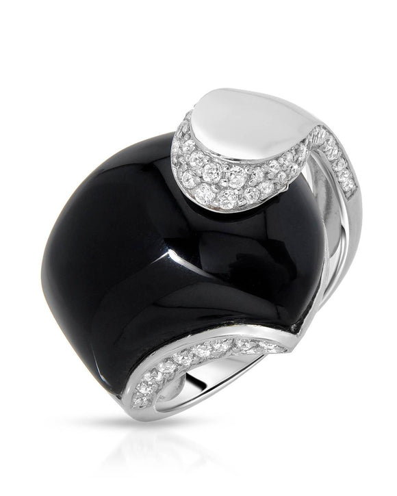 AURORA BOREALIS Inlay Black Onyx Sterling Silver Cocktail Ladies Ring Size 9