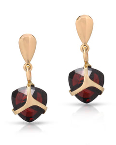 MILLANA Made In Italy 6.80 CTW Garnet 14K Gold Drop Ladies Earrings