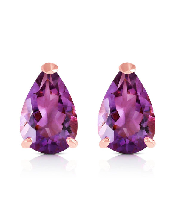 MAGNOLIA 3.15 CTW Pear Purple Amethyst 14K Gold Stud Ladies Earrings Length 9 mm