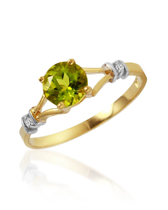 MAGNOLIA 0.87 CTW SI2-SI3 Round Green Peridot 14K Gold Ladies Ring Size 8