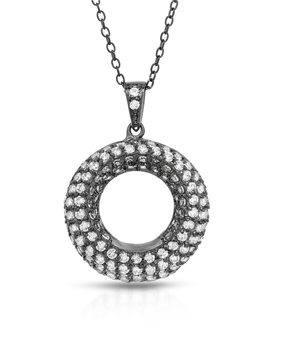 Round White Cubic Zirconia Sterling Silver Circle Ladies Necklace Weight 5.5g.