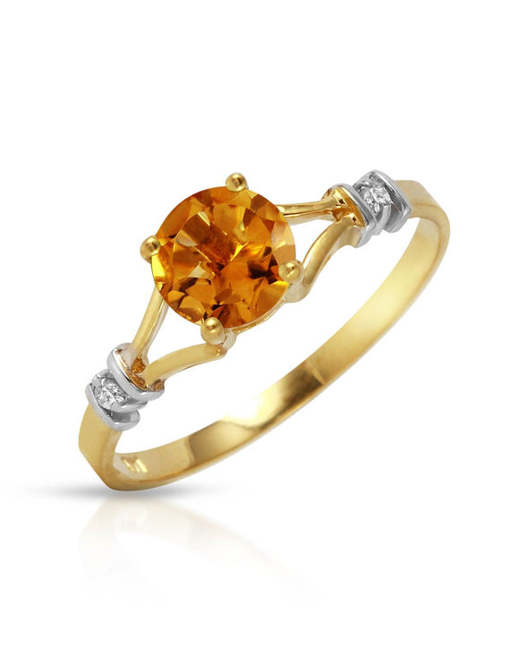 MAGNOLIA 1.02 CTW Accent Round Yellow Citrine 14K Gold Ladies Ring Size 8