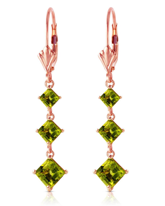 MAGNOLIA 4.80 CTW Square Golden Green Peridot 14K Gold Dangle Ladies Earrings