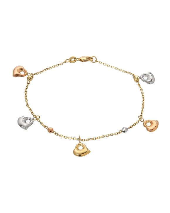 14K Gold Heart Ladies Bracelet Weight 2.6g. Length 7 in