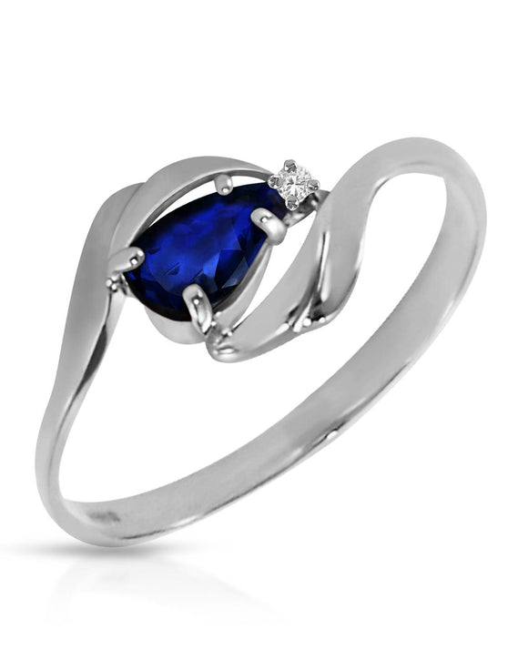 MAGNOLIA 0.51 CTW Accent Pear Blue Sapphire 14K Gold Ladies Ring Size 8