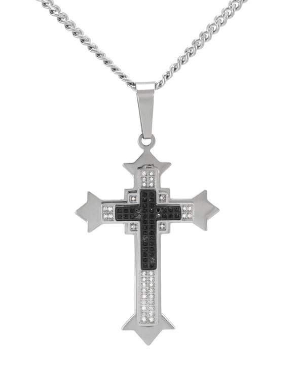 LUNDSTROM 0.50 CTW H-I I2 Round Diamonds Stainless Steel Cross Men's Necklace