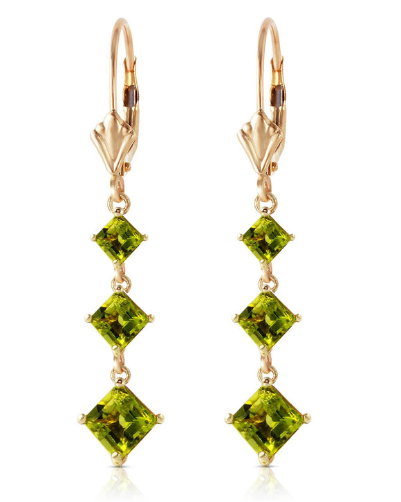 MAGNOLIA 4.79 CTW Golden Green Peridot 14K Gold Dangle Ladies Earrings