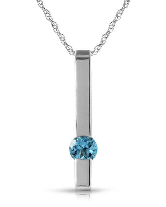 MAGNOLIA 0.25 CTW Round Blue Topaz 14K Gold Ladies Necklace Length 18 in