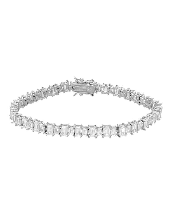 Rectangular White Cubic Zirconia Sterling Silver Tennis Ladies Bracelet