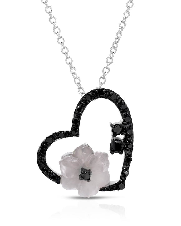 1.70 CTW Fancy Pink Quartz Sterling Silver Heart Ladies Necklace Weight 5.4g.