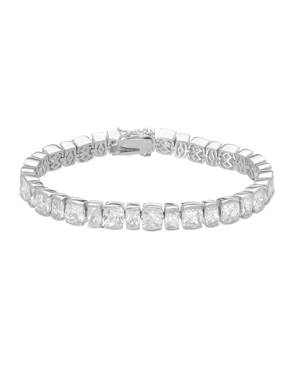 Cushion White Cubic Zirconia Sterling Silver Tennis Ladies Bracelet Length 7 in