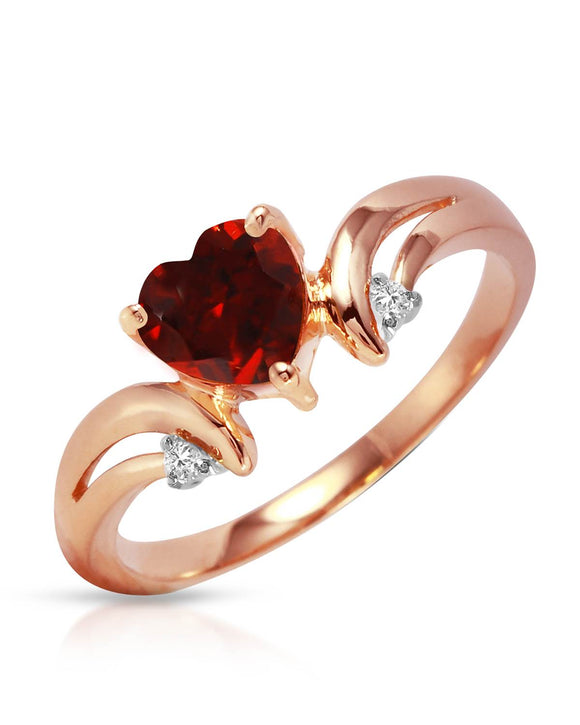 MAGNOLIA 1.26 CTW Heart Reddish Brown Garnet 14K Gold Heart Ladies Ring Size 8
