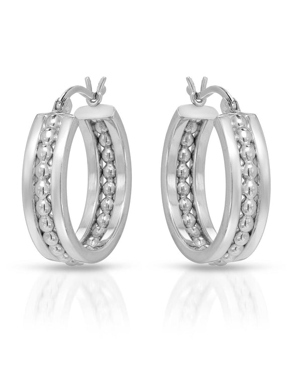 MILLANA Made In Italy Sterling Silver Hoop Ladies Earrings Weight 4.8g.