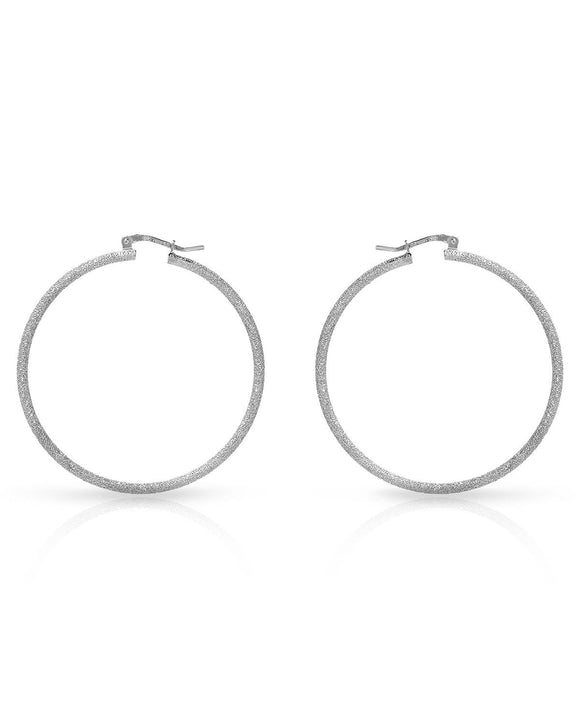 MILLANA Made In Italy Sterling Silver Hoop Ladies Earrings Weight 5.0g.