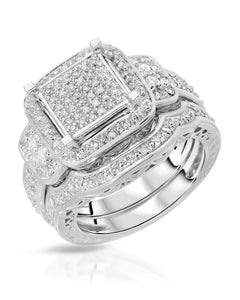 0.43 CTW H-I I2-I3 Round Diamonds Sterling Silver Wedding Set Ring Size 9
