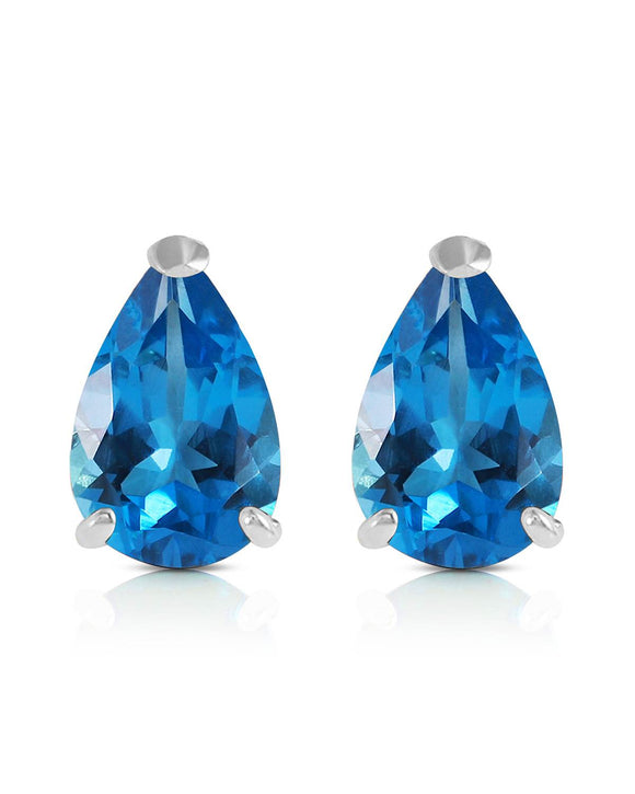 MAGNOLIA 3.15 CTW Pear Blue Topaz 14K Gold Stud Ladies Earrings Length 9 mm