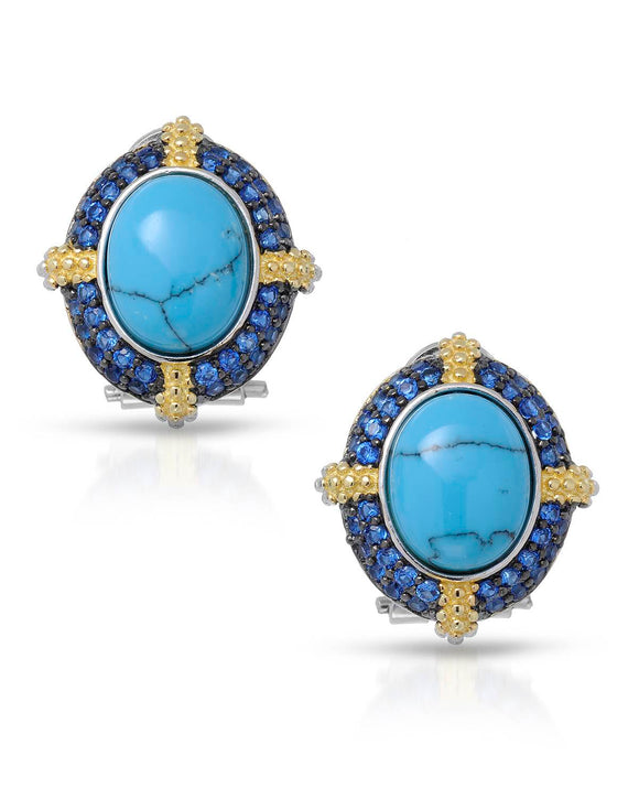 MILLANA Made In Italy Light Blue Turquoise Gold Plated Silver Ladies Earrings
