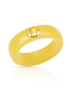 0.42 CTW Round Yellow Citrine 14K Gold Band Ladies Ring Size 7 Weight 3.1g.
