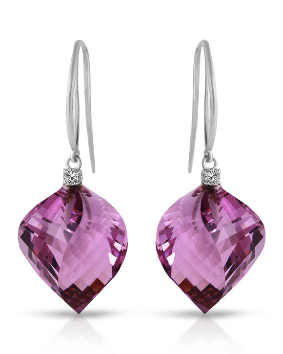 MAGNOLIA 21.60 CTW I3 Fancy Purple Amethyst 14K Gold Drop Ladies Earrings