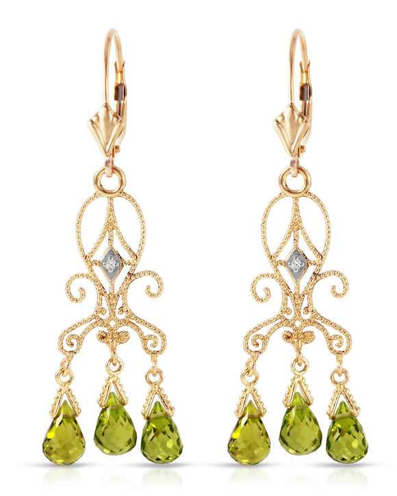MAGNOLIA 4.51 CTW Golden Green Peridot 14K Gold Chandelier Ladies Earrings