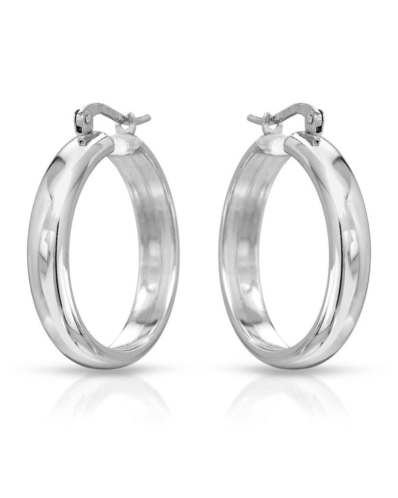 MILLANA Made In Italy Sterling Silver Hoop Ladies Earrings Weight 5.3g.