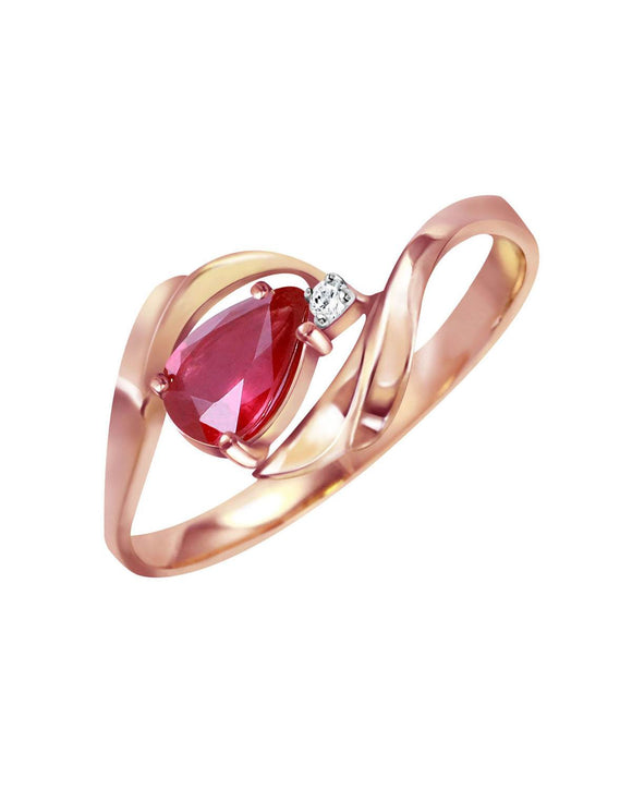 MAGNOLIA 0.51 CTW Accent Pear Purple-Red Ruby 14K Gold Ladies Ring Size 8