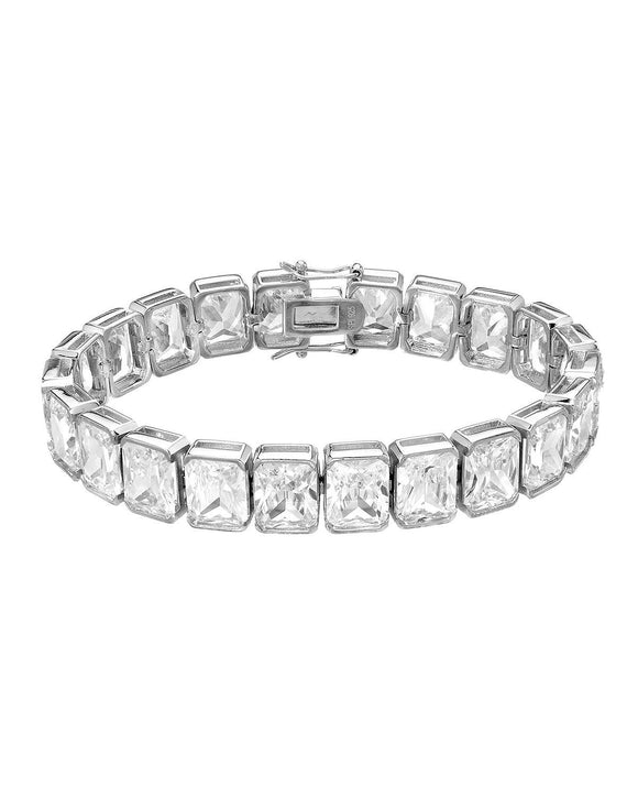 Radiant White Cubic Zirconia Sterling Silver Tennis Ladies Bracelet
